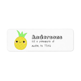 Cute Trendy Pineapple Family Name Return Address