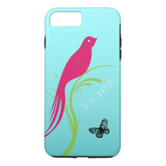Cute Trendy  Pink Swallow Bird Butterfly on Aqua iPhone 7 Plus Case