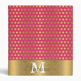 Cute trendy polka dots faux gold glitter pattern vinyl binders