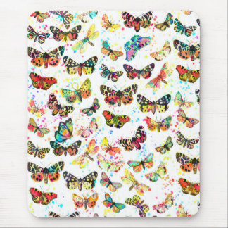 Cute trendy watercolor splatters butterflies mouse pad