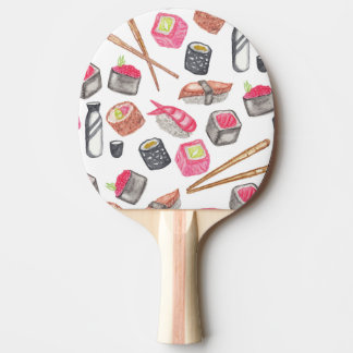 Cute Trendy Watercolor Sushi Sake and Chopsticks Ping-Pong Paddle