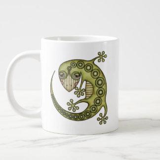 Cute Tribal Green Gecko Large Coffee Mug