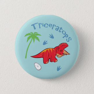 Cute Triceratops 2 Inch Round Button