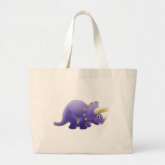 Cute Triceratops Cartoon Dinosaur Large Tote Bag