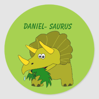 Cute Triceratops Custom Name Dinosaur Cool Kids Round Sticker