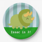 Cute Triceratops Dinosaur Birthday Party Paper Plate