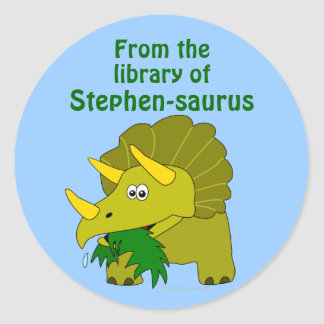 Cute Triceratops Dinosaur Personalized Bookplate Round Sticker