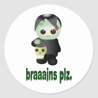 "Cute Trick-or-Treating Zombie - ""braaains plz"" Classic Round Sticker"