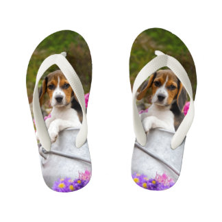 Cute Tricolor Beagle Dog Puppy Animal - for Kids Kid's Flip Flops