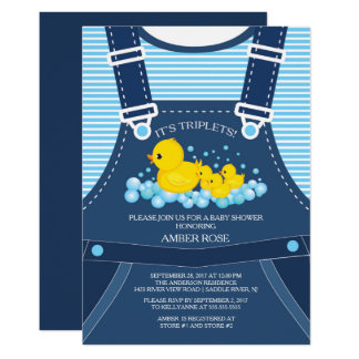 Cute TRIPLETS Ducks Baby Shower Invitation