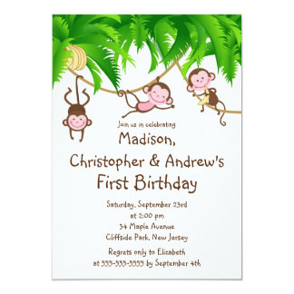 Cute Triplets Monkey Birthday Party Invitations
