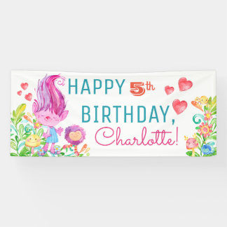 Cute Troll Birthday Party Banners