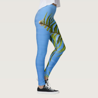 Cute Tropical Green Fern Blue Sky Leggings