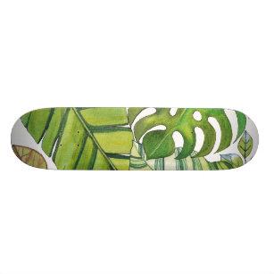Cute Tropical Leaves In Watercolor Skateboard