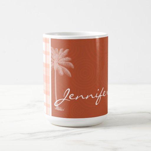 Cute Tropical Orange Plaid Mug