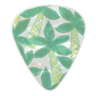 Cute tropical palm trees pearl celluloid guitar pick
