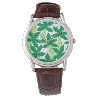 Cute tropical palm trees wrist watches
