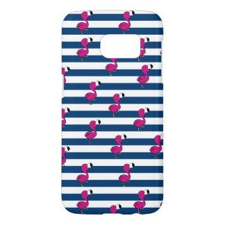 cute tropical pink baby flamingo navy blue stripes samsung galaxy s7 case