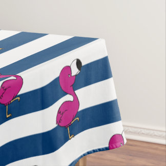 cute tropical pink baby flamingo navy blue stripes tablecloth