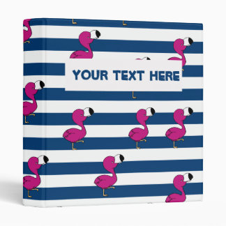 cute tropical pink baby flamingo navy blue stripes vinyl binder