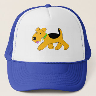 Cute Trotting Airedale Puppy Dog Trucker Hat