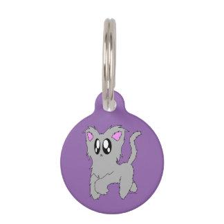 Cute Trotting Scruffy Cartoon Gray Kitten Pet Tag