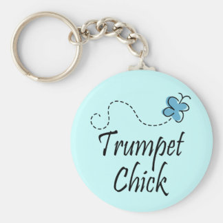Cute Trumpet Chick Music Keychain