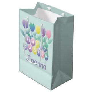 Cute Tulip Happy Easter Eggs Custom MGB Medium Gift Bag