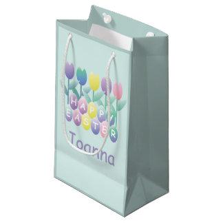 Cute Tulips Happy Easter Eggs Custom SGB Small Gift Bag