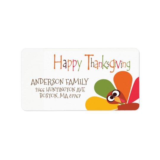 Cute Turkey Happy Thanksgiving Address Label