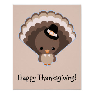 Cute Turkey Thanksgiving Day Poster