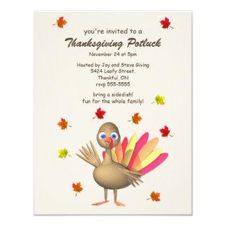 "Cute Turkey Thanksgiving Potluck 4.25"" X 5.5"" Invitation Card"