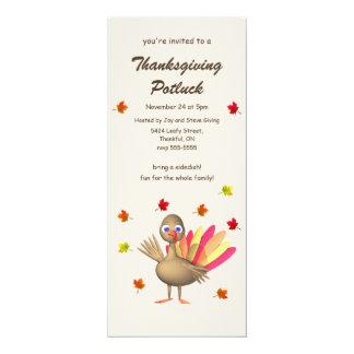 "Cute Turkey Thanksgiving Potluck 4"" X 9.25"" Invitation Card"