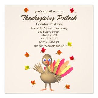 Cute Turkey Thanksgiving Potluck Invitations