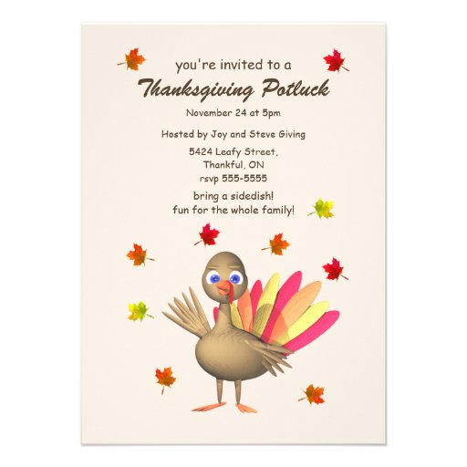 Cute Turkey Thanksgiving Potluck Invites