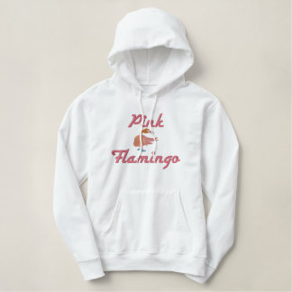 Cute Turning Head Flamingo Pink Flamingo Text Embroidered Hoodie