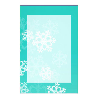 Cute turquoise and white Christmas snowflakes Stationery