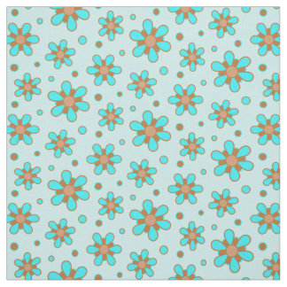 Cute Turquoise Blue Brown Flower Floral Print Fabric