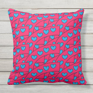 Cute Turquoise Blue Hearts Pattern on Hot Pink Throw Pillow
