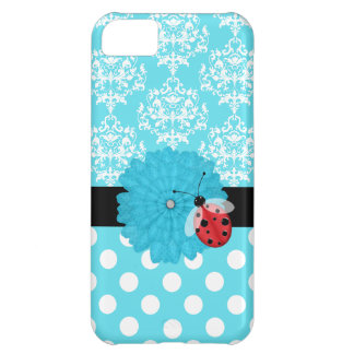 Cute Turquoise Floral with Ladybug iPhone Case