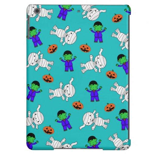 Cute turquoise Frankenstein mummy pumpkins iPad Air Case