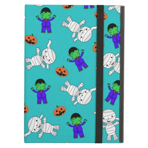 Cute turquoise Frankenstein mummy pumpkins iPad Air Covers