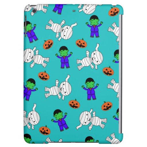 Cute turquoise Frankenstein mummy pumpkins iPad Air Cases