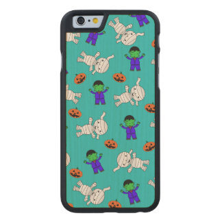 Cute turquoise Frankenstein mummy pumpkins Carved® Maple iPhone 6 Slim Case