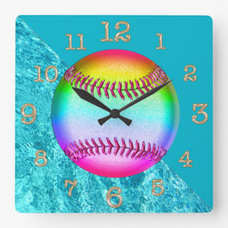Cute Turquoise  Multicolored Softball Wall Clock