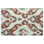 Cute turquoise orange brown ikat tribal patterns fabric