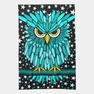 cute turquoise owl kitchen towel