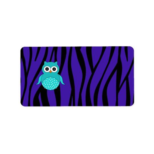 Cute turquoise owl purple zebra stripes