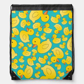 Cute turquoise rubber ducks cinch bags