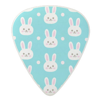 Cute turquoise white easter bunnies simple pattern acetal guitar pick
